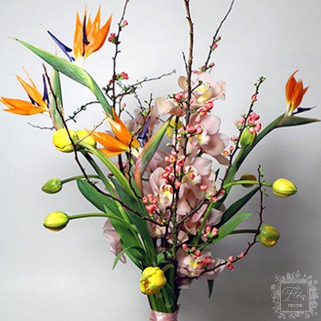 bouquet forma lineare arancio giallo rosa