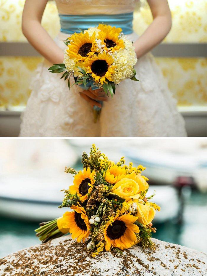Idee Matrimonio Girasoli : Bouquet da sposa girasoli